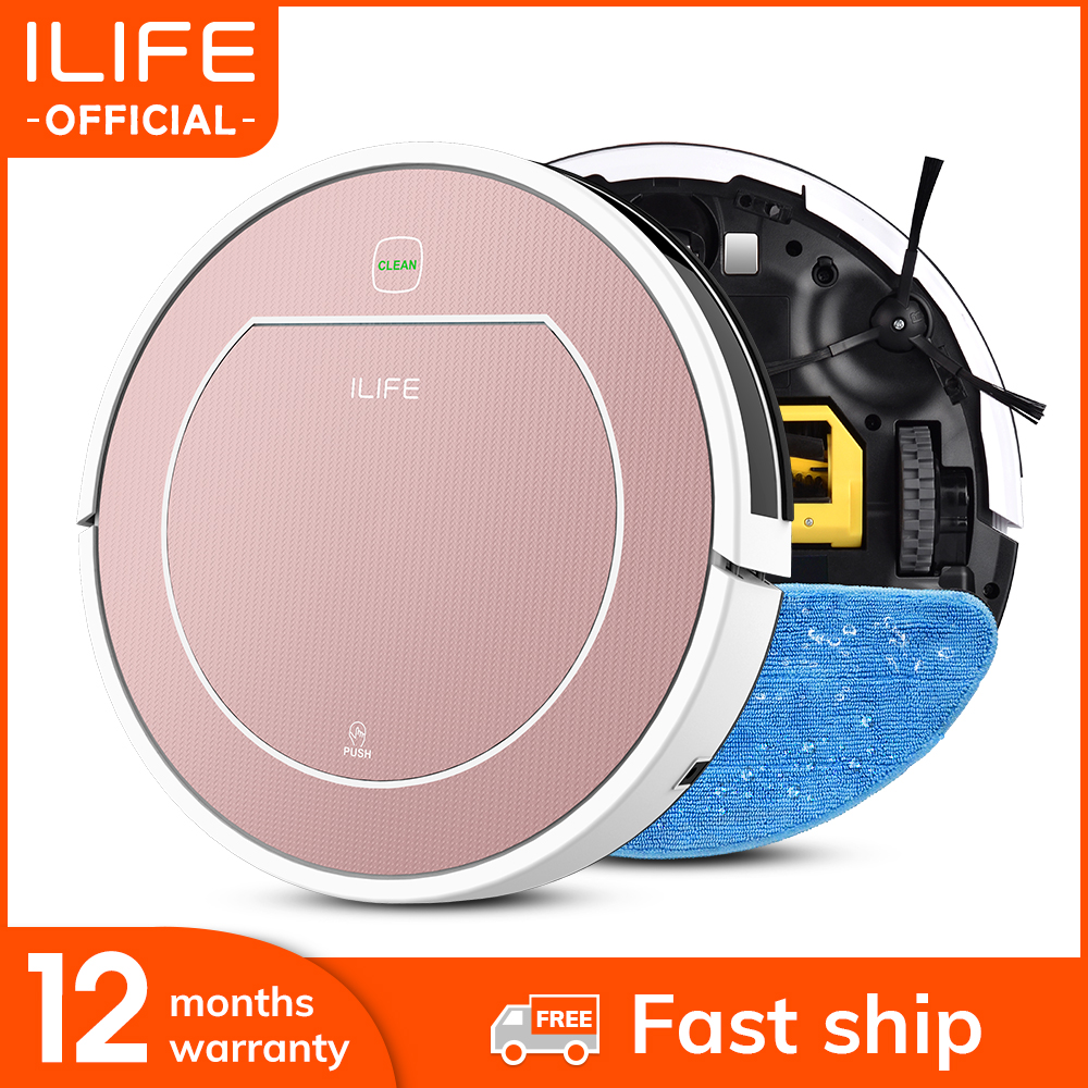 ILIFE V7s Plus Robot Vacuum Cleaner Sweep and Wet Mopping Disinfection For Hard Floors&Carpet Run 120mins Automatically Charge-0