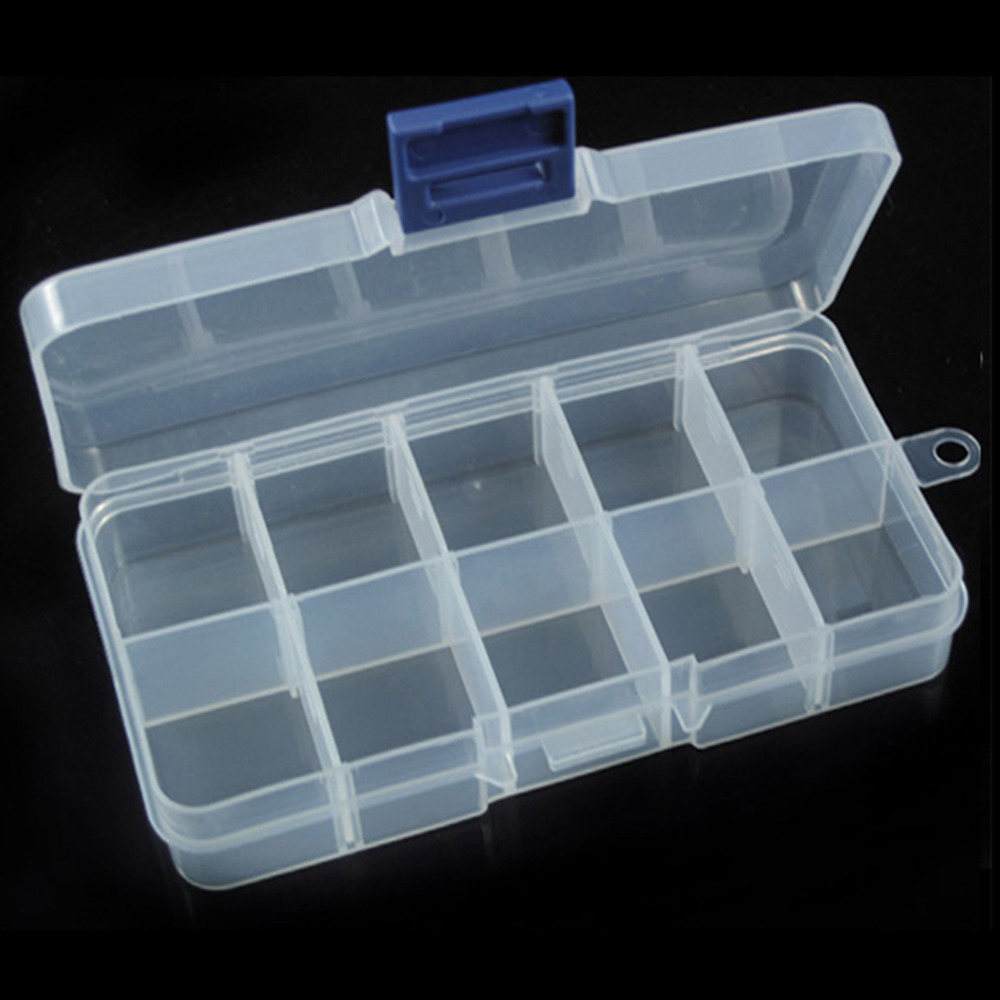 Hot Sale New 12/10/8 Grids Adjustable Box Nail Art Tips Storage Box Case Plastic Makeup Box For Girls Beauty