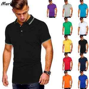 Markyi Polo-Shirt Short-Sleeve Business Striped Casual Summer Para Good-Quality Hombre