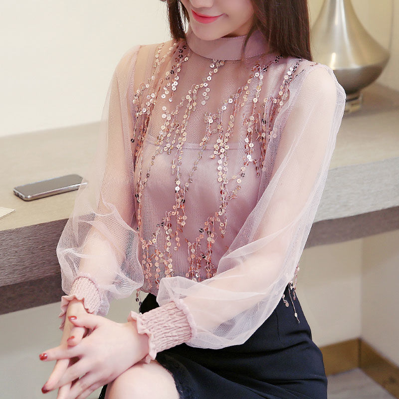 Spring Beading Mesh Blouses Women Sweet Lantern Sleeve Pearls Gauze Blouses Ladies Elegant Shirt Tops Stand Collar Chiffon S-2XL 13