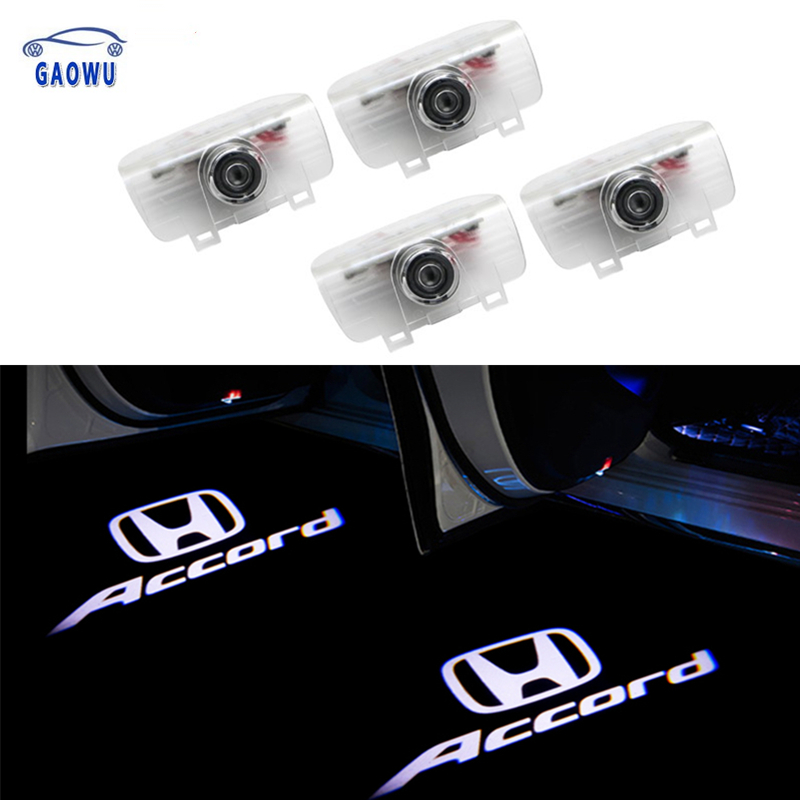2Pcs LED Projection Logo Ghost Shadow Light Car Door Welcome Light DIY Step Light Symbol Sign Badge For Honda Accord INSPIRE