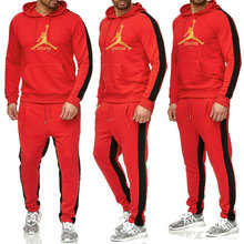 2019 Brand Mens JORDAN 23 Gyms Bodybuilding Sets Casual Tracksuit Fitness Men Sweatsuit 2 Pieces Tops Pants Set for Male Outfits