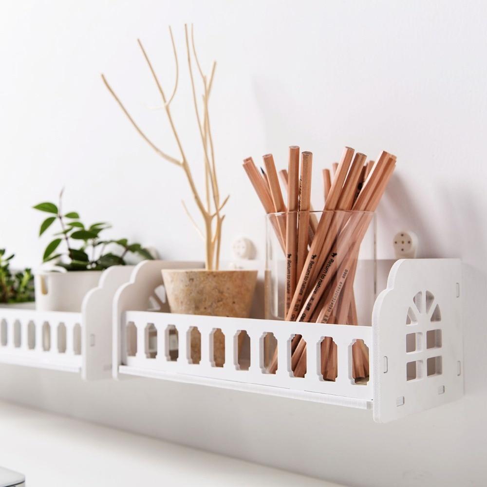 Nueva pared de salón montado estante pantalla blanca Rack de almacenamiento dormitorio escritorio organizador porta ornamento decoración del hogar|Soportes y estanterías de almacenamiento|   - AliExpress