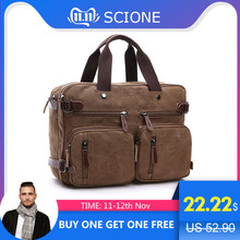 Scione Briefcase Canvas-Bag Tote-Back-Handbag Laptop-Pocket Messenger-Shoulder Business
