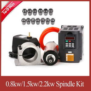 Image 1 - 2.2kw Water cooled spindle 2.2kw CNC spindle motor + 2.2KW VFD + 80mm clamp + water pump+13pcs ER20 For CNC Router