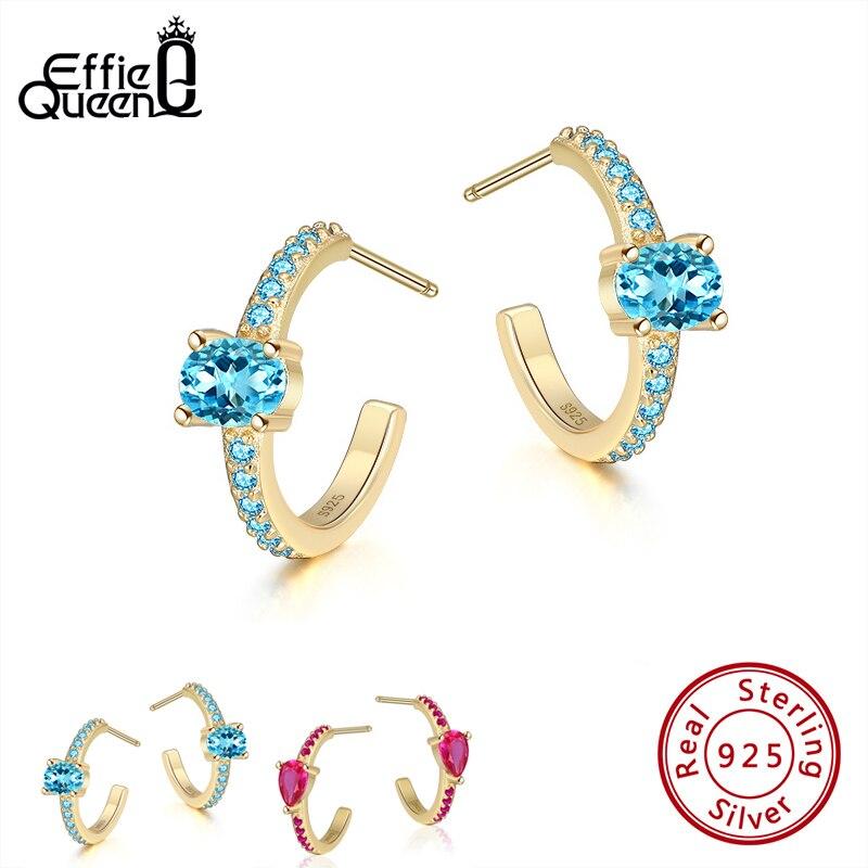Effie Queen Multi-color 925 Silver Hanging Earring AAAA Zircon Earrings Micro Zircon Paved Woman Girl Jewelry Party Gift BE283