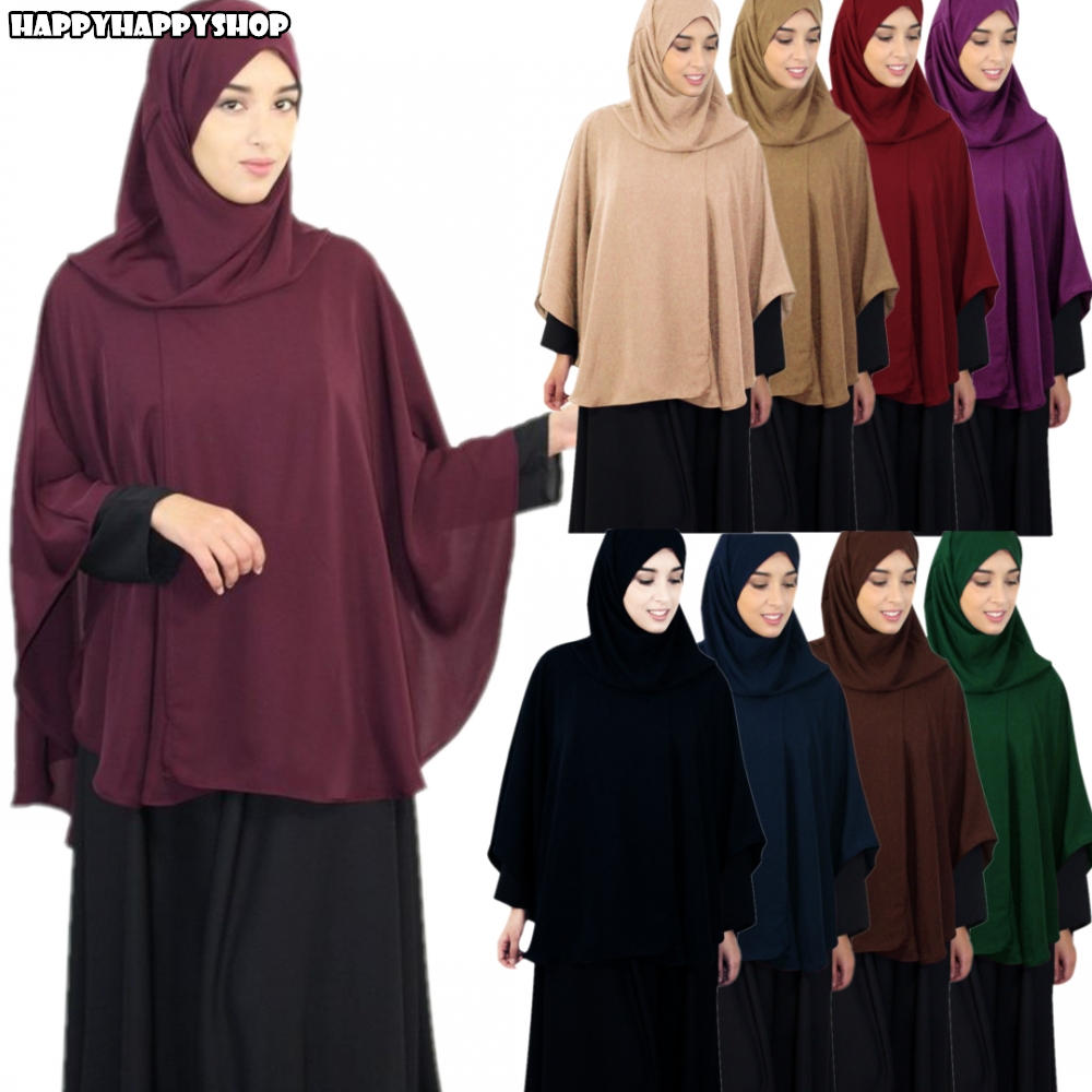 Muslim Women Hijab Overhead Prayer Dress Niqab Scarf Islamic Jilbab Burka Big Shawls Tops Shirts Ramadan Worship Service