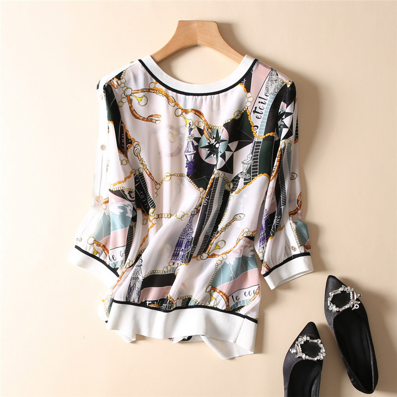 100% Silk Blouse Women Back False Buckle Chain Printed Lightweight Plus O Neck Long Sleeves Loose Casual Tops New Fashion