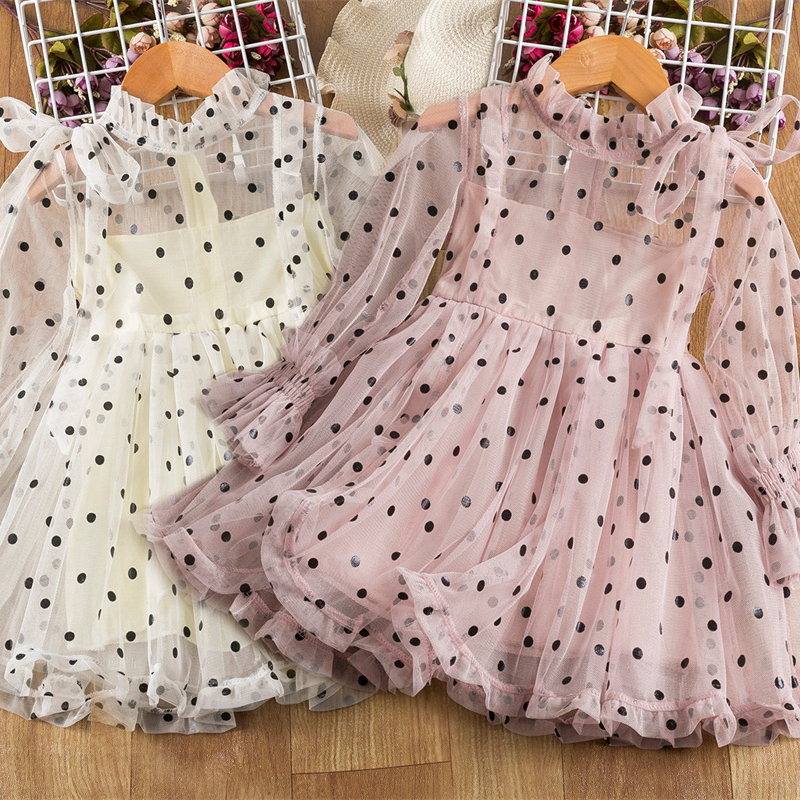Lace Flower Girls Dress Princess Costume New Year Party Chidlren Clothing Spring Winter Long Sleeves Kids Dresses for Girls 1