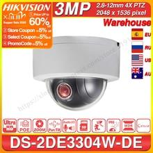 Hikvision Original PTZ Cam DS 2DE3304W DE 3MP IP Network Mini Dome Camera 4X Optical Zoom 2 way Audio Support Ezviz Remote View.