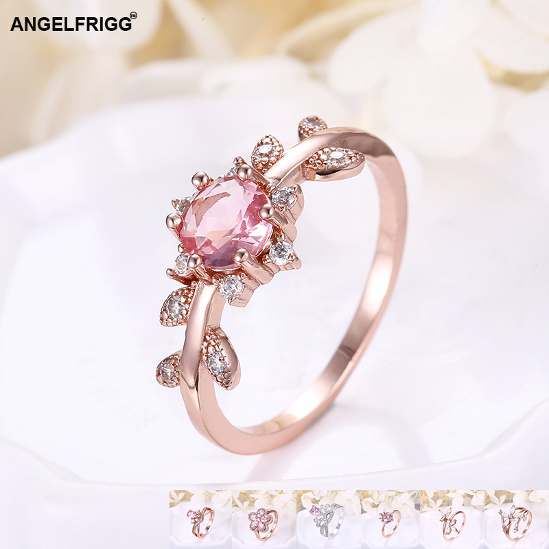 Angelfrigg Trendy Rose Gold Women Rings With Aaa Cubic Zirconia