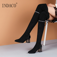 купить 2019 Women Leather Knee High Boots Black High Heel Over the Knee Boots 6.5cm дешево
