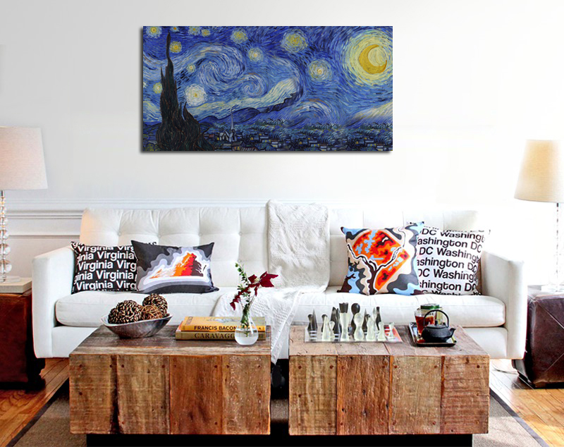 Canvas Wall Art Starry Night by Vincent Van Gogh Reproduction Painting Print Long Canvas Wall Picture for Living Room Home Decor in Painting Calligraphy from Home Garden