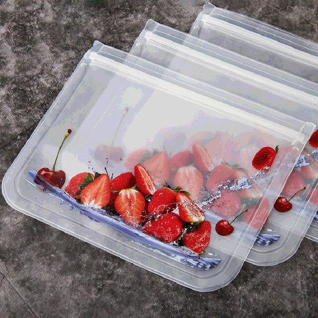 1PCS Food Storage Bag Reusable Freezer Bag PEVA Silicone Food Bag Leakproof Containers Reusable Kitchen Organizer Bag
