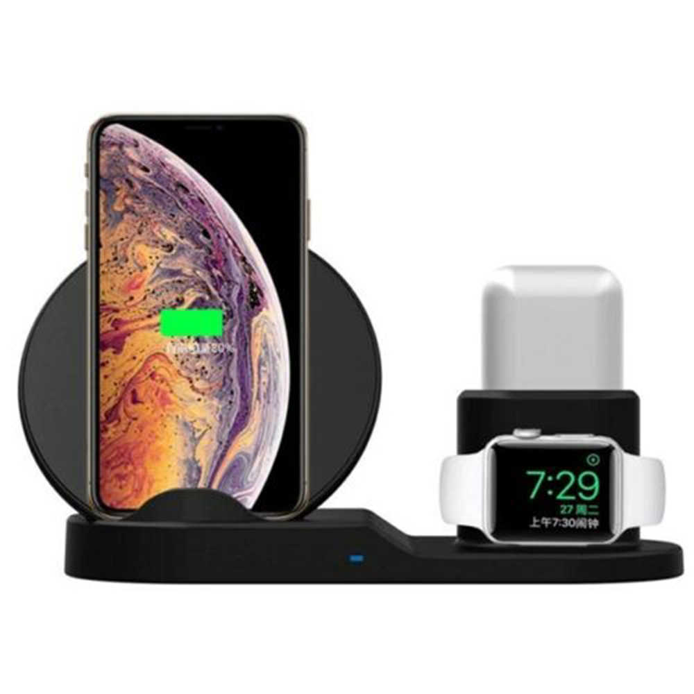 Cargador inalámbrico 3 en 1 soporte de carga rápida para Apple watch Series 4/3/2/1 Airpods para iPhone Samsung