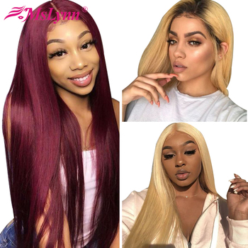 Blonde Lace Front Wig Lace Front Human Hair Wigs 99j/1b/27/613 Colorful Lace Front Wig Ombre Straight Human Hair Wig Mslynn Remy