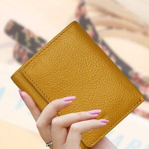Image 2 - Di modo delle donne del cuoio genuino piccolo femminile portafoglio Tri fold borsa breve per sacchi di denaro con il supporto di carta della signora mini slim portafogli