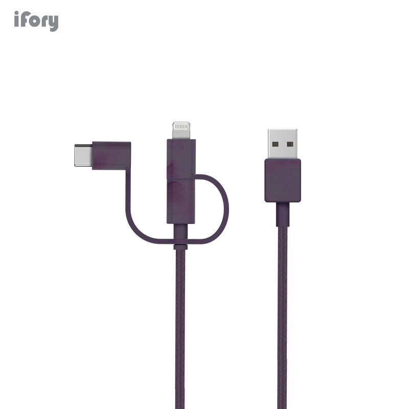 iFory <font><b>3</b></font> <font><b>in</b></font> <font><b>1</b></font> <font><b>Cable</b></font> For iPhone XS X 8 7 6 Charging Charger Micro <font><b>USB</b></font> <font><b>Cable</b></font> For Android <font><b>USB</b></font> Type C Mobile Phone Cord For Samsung image