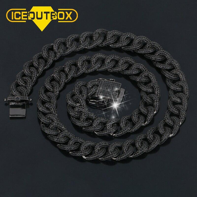 13MM lourd Miami Cyban lien collier pour hommes Hip Hop Rock bijoux glacé AAA Zircon or noir chaîne 18 ''20'' avec boîte-cadeau