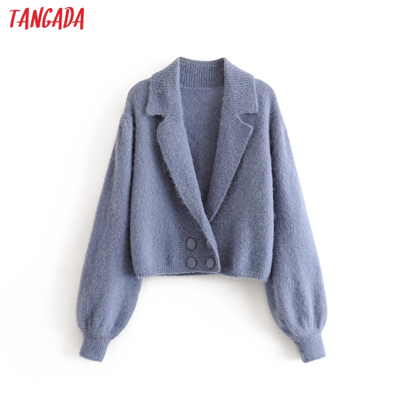 Tangada Women Elegant Blue Cardigan Sweater Long Sleeve Buttons Loose Office Lady Knit Sweaters Basic Sweater 3H405