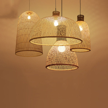 Vintage Bamboo Art Pendant Lights Wood Wicker Chinese Pendant Lamp Suspension Home Indoor Dining Room Kitchen Fixtures Luminaire цена