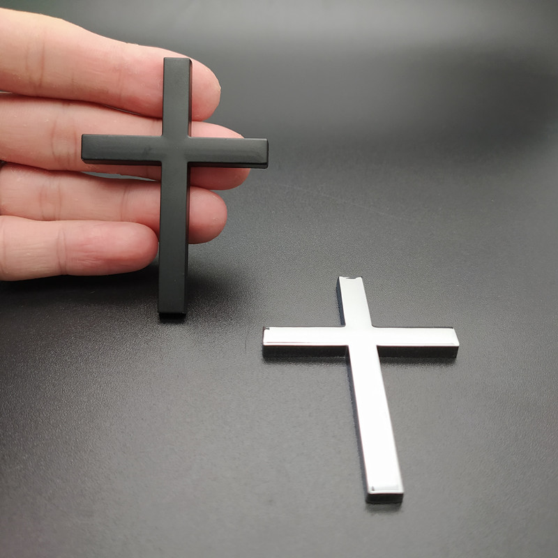 3D Metal Christian Cross Sticker Side Body Emblem Badge Decal Stickers Car Side Fender Rear Trunk Accessories