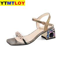 Fashion Women's Sandals Cow Leather Transparent Metal Decoration Buckle Square H