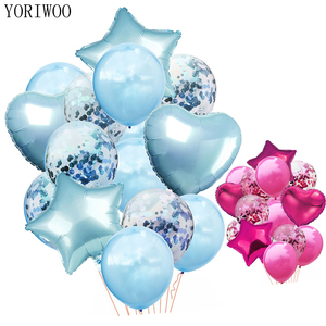 YORIWOO Confetti Balloon Latex Foil Balloons Air Baby Shower Boy Girl Baloons Wedding Happy Birthday Party Decorations Kids 1st(China)