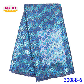 NIAI Organza African Sequins Lace Fabric 2019 High Quality Lace For Nigerian Wedding Dress French Net Mesh Lace Fabric XY3008B-6