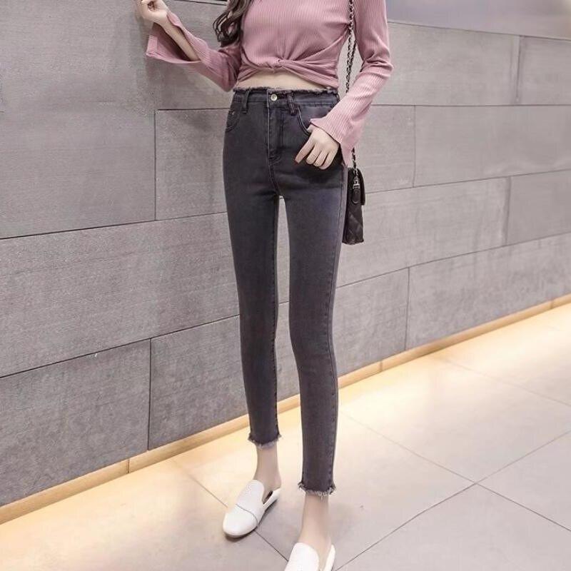 2019 Autumn Women High Waist Black Jeans Tassel Boyfriend Jeans Women Hole Vintage Slim Denim Pencil Pants
