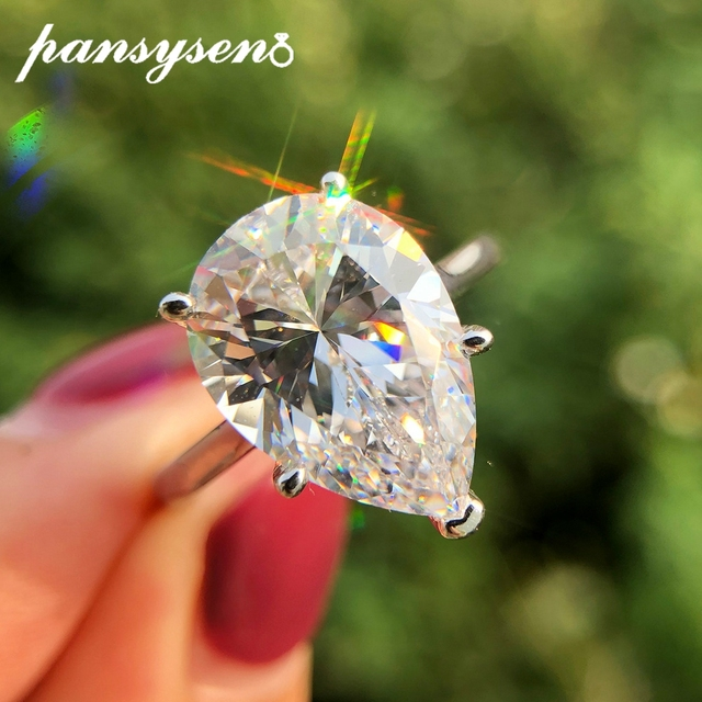 PANSYSEN Sparkling Yellow Chrysoberyl Engagement Rings for Women Genuine 925 Sterling Silver Jewelry Ring 8 colors Big Size 5 12