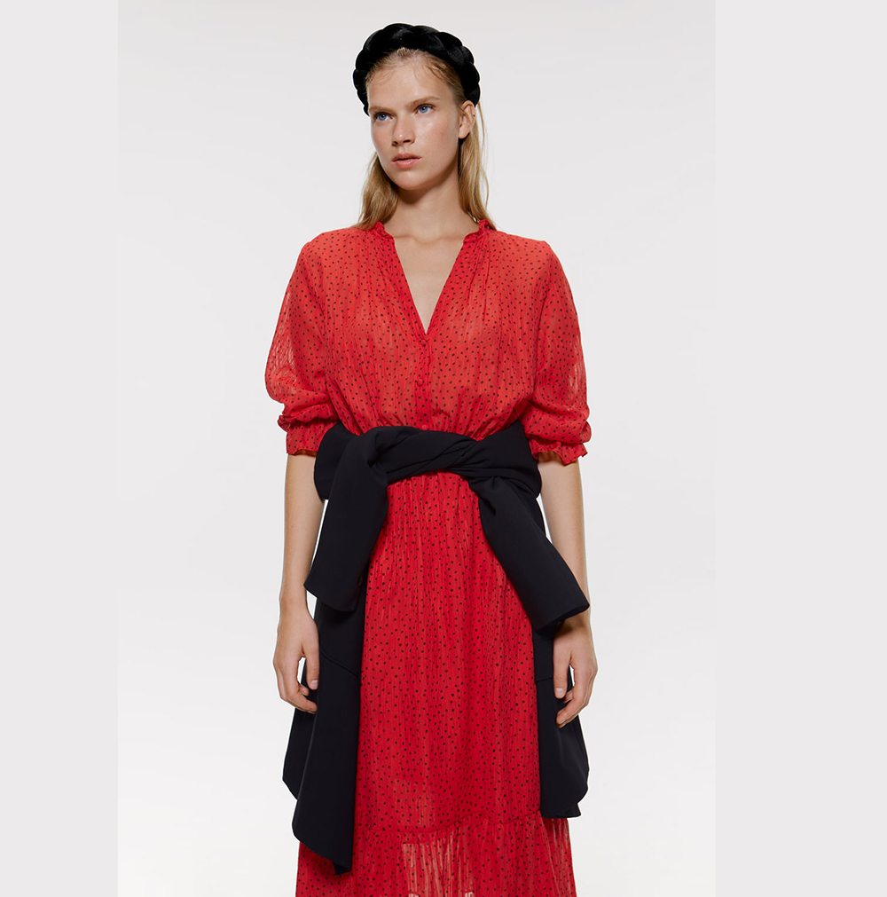 Sexy Three Quarter V-Neck Red Dot ZA Dress Women 2019 Fashion Ruffles Pleated Lantern Sleeve Dress Streetwear High Waist Dress