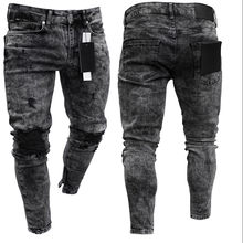 Men's Hot new jeans ripped in the knee zipper hot style denim trousers jogger hip hop print jeans(China)