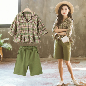 Clothes For Girls Sets Kids Plaid Short Sleeve Shirt + Shorts Two Piece Set Children Suit Summer Girls Outfits 8 10 12 14 Years