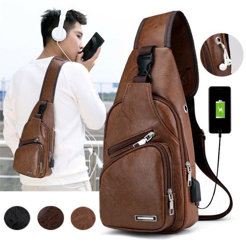 Mens Leather Crossbody Bag Single Shoulder Bag USB Sling Sports Casual Chest Bag Phone Bag Earphone Hole Design