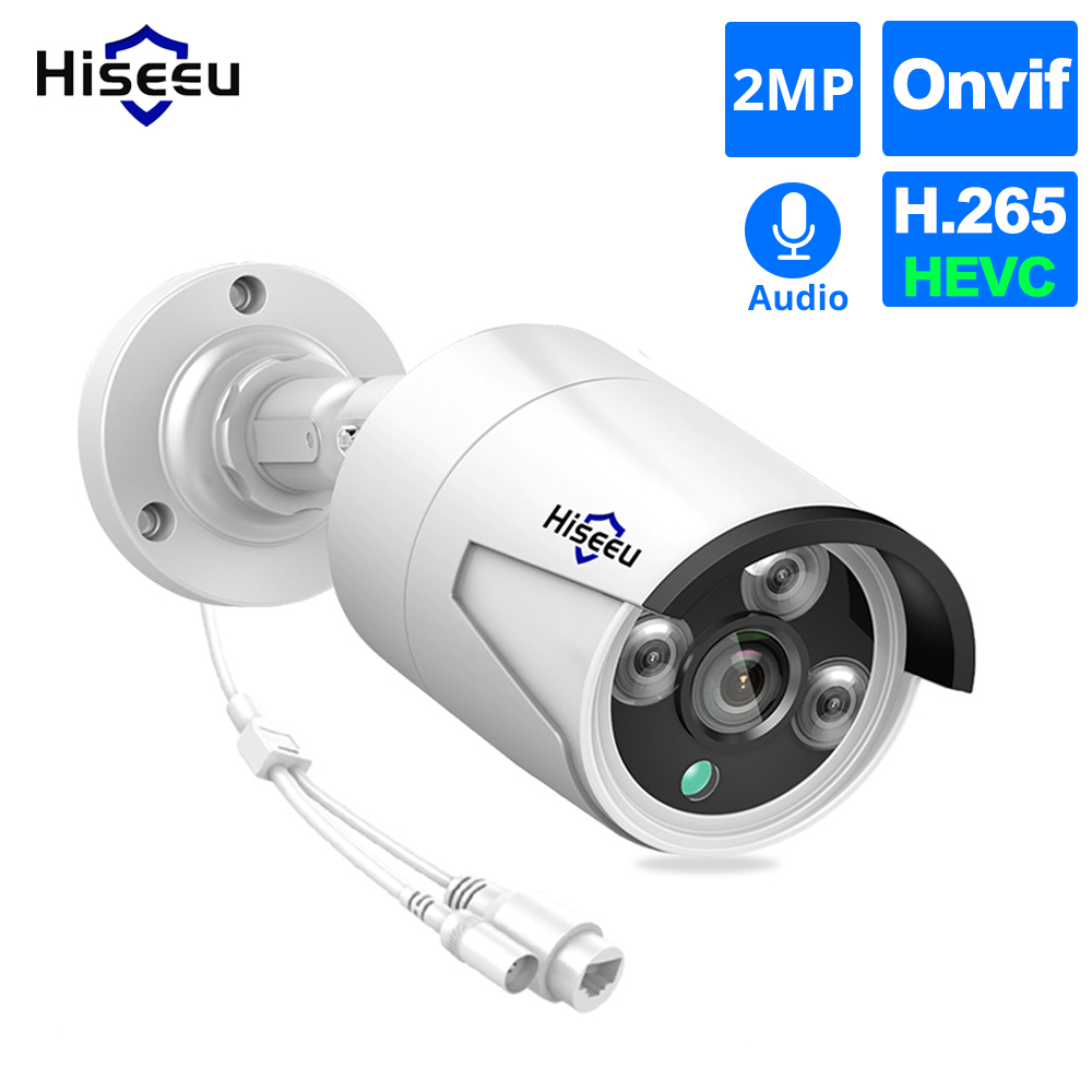Hiseeu 1080P POE IP Camera ONVIF H.265 Audio Record CCTV Camera 2.0mp Waterproof IP66 Outdoor Home Security Video Surveillance