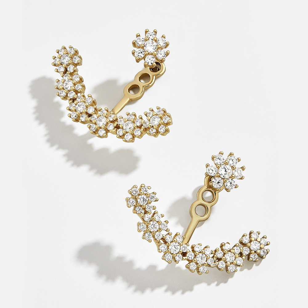 Unique Design Flower Crystals Stud Earring for Women multilcolor Double Sided Fashion Jewelry Earrings female Ear brincos(China)