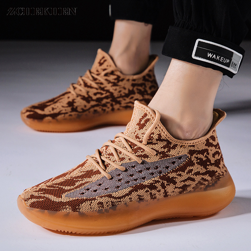 Men's Fashion Designer Sports Shoes Thick Bottom Kanye Sneakers Casual Shoes Flyweave Chunky Sneakers Tenis Sapato Masculino