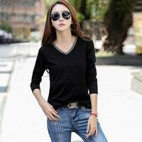 2020 kobiet topy czarne koszulki baza dekolt z długim rękawem kobiet T-shirt Tee dziewczyny koszula eleganckie lato ubrania AE0079