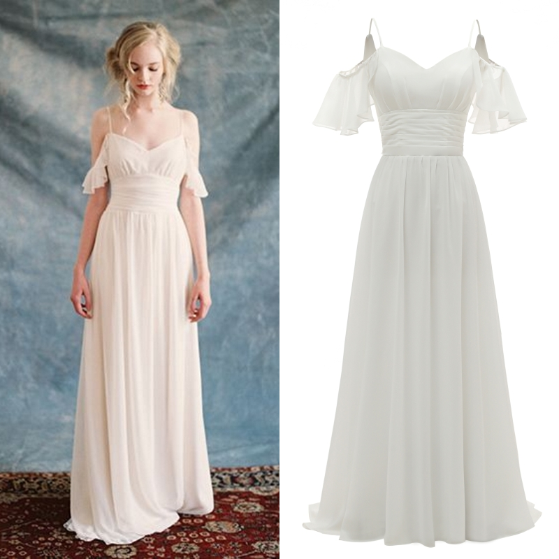 Simple Wedding Party Bridal Gown Bridesmaid Evening Dress Chiffon Boho Bride Real Photo Factory Price