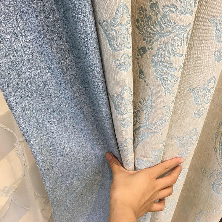 New European Chenille Jacquard Fabric Modern Curtains for Living Dining Room Bedroom Blackout Curtains