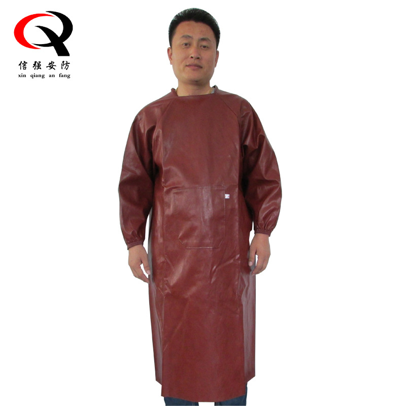 Long Thick Pu Waterproof Oil Resistant Adult Overclothes Dustproof Long Sleeve Apron Labor Safety 1.2 M Leather Bib