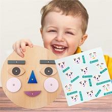 Toy Building-Blocks Educational Kids DIY Wood Fidget Arly Emoticon Learning Expression