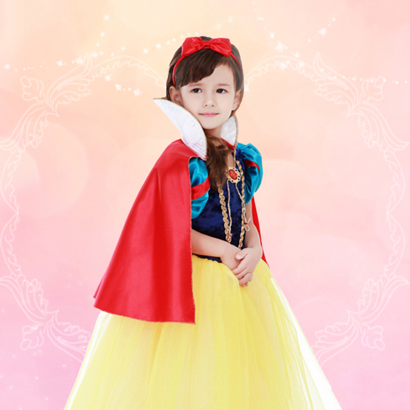 Princess Snow White Dress up Costume for Girls Kids Puff Sleeve Costumes with Long Cloak Child Party Birthday Fancy Gown