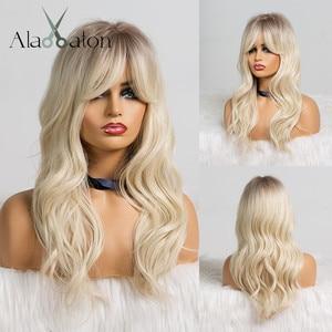 Image 5 - Alan Eaton Blonde Synthetische Pruik Met Pony Lange Golvende Pruiken Voor Vrouw Cosplay Party Pruik Daily Valse Haar Hittebestendige fiber