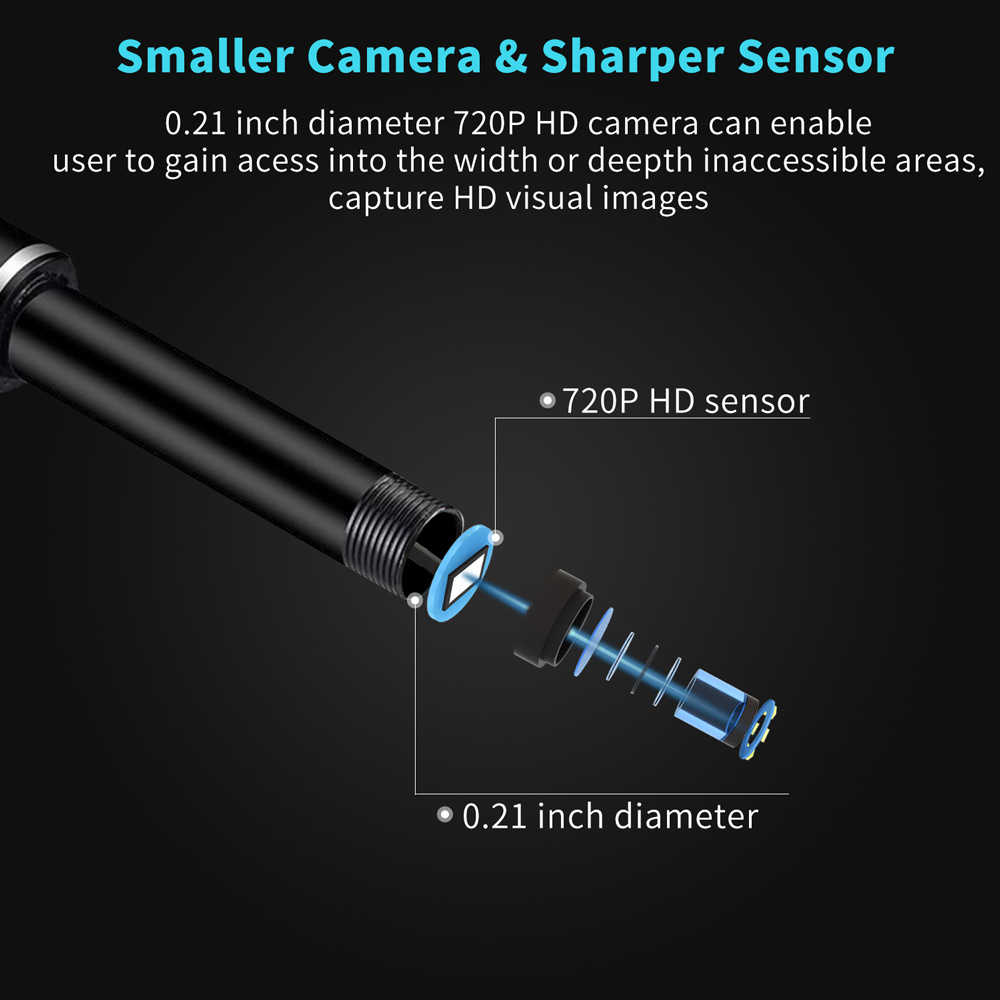 Pena Kamera Otoscope Telinga Cleaner 6Pcs Lampu LED HD Visual Telinga Sendok Perawatan Kesehatan Telinga Memilih Alat Visual Telinga sendok Kamera Endoskopi