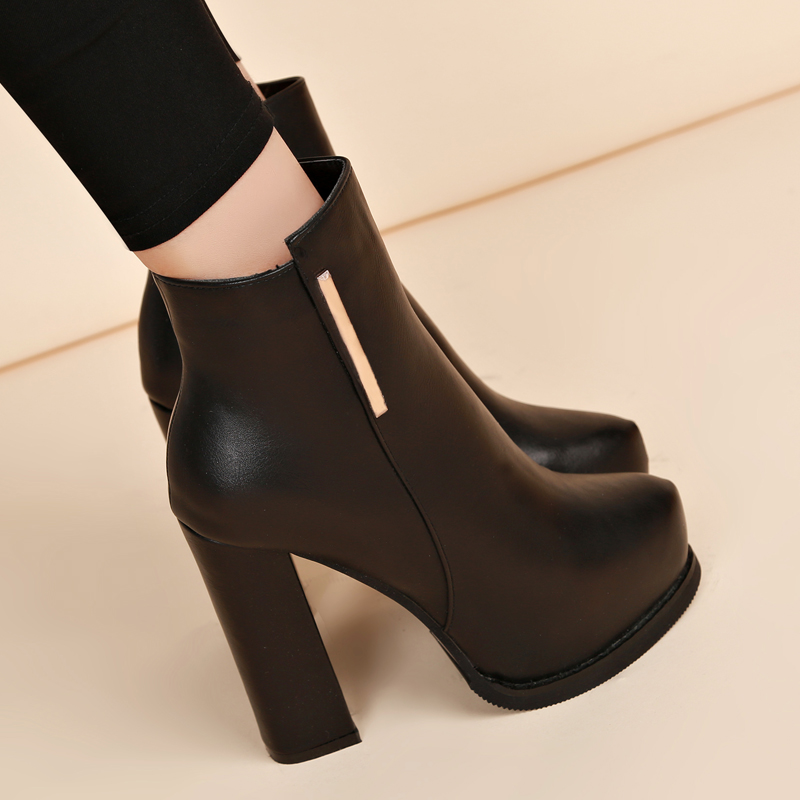 Liren 2019 Winter Women Plush Boots Round Wrapped Toe High Heels Square Heels Zip Comfortable Women Boots Warm Lady Shoes