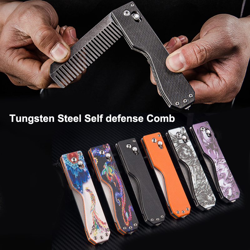 Multifunction EDC Foldable Tactical Comb Tungsten Steel Head Self Defense Personal Security Tool Equipment Comb Survival Tools