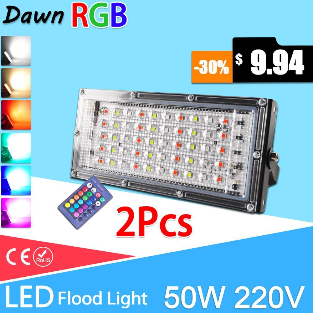 2pcs led 홍수 빛 50 w rgb led 투광 조명 원격 제어 cob 칩 led 가로등 ac220v 240 v 방수 ip65 야외 조명