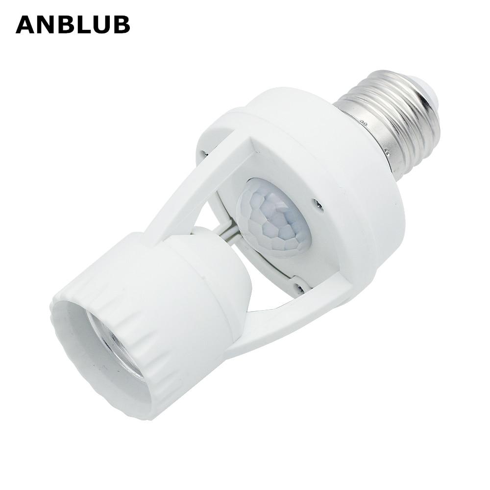 ANBLUB E27 Socket PIR Motion Sensor Lamp Holder Light Control Infrared Sensor Lamp Base Fitting 220V For LED Light Bulb Lighting